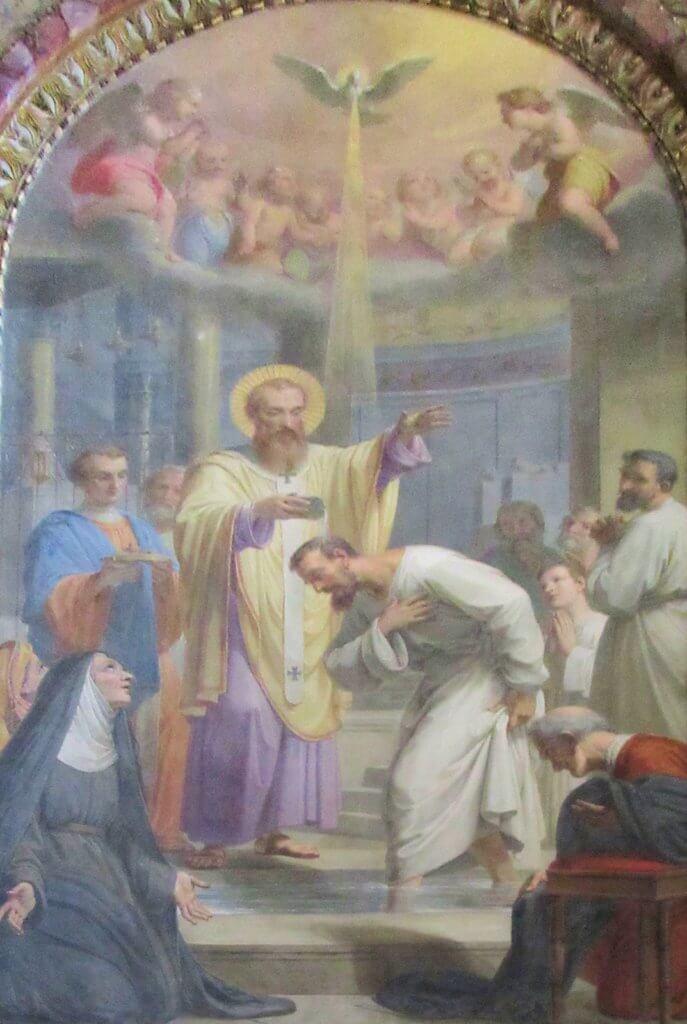 Ambrosius von Mailand tauft Augustinus von Hippo, Christusliebe