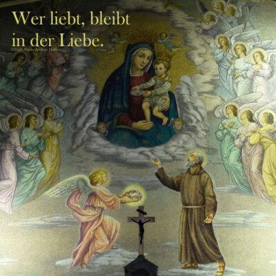 Hl. Maria mit Jesus verehrt vom Hl. Padre Pio